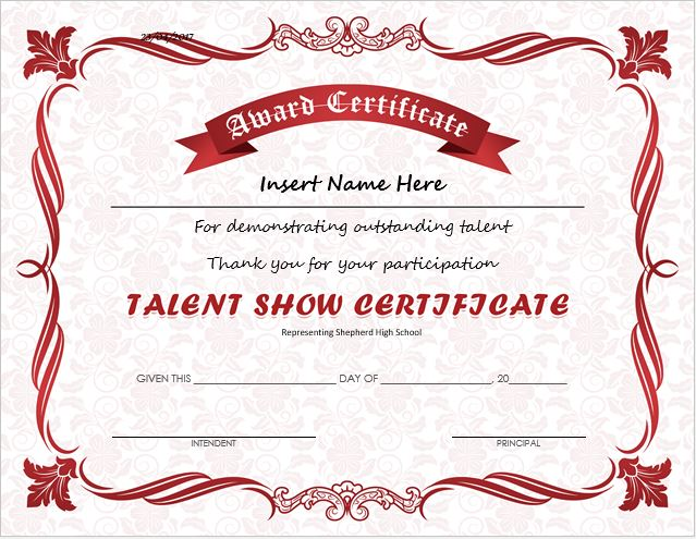 Talent show award certificates for ms word professional for Dog show certificate template