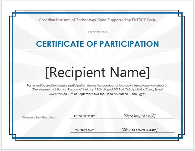 template for certificate of participation in workshop certificate of participation templates for ms word