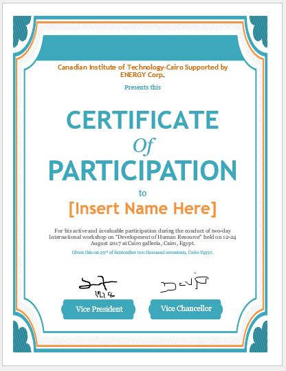 Certificate of Participation Templates for MS Word ...