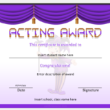 Best Acting Award Certificate for School