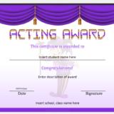 Best Acting Award Certificate for School