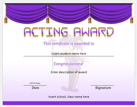 award acting certificate certificates templates