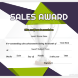 Best Sales Award Certificate
