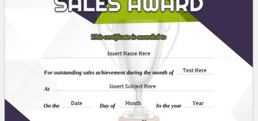 Best Sales Award Certificate