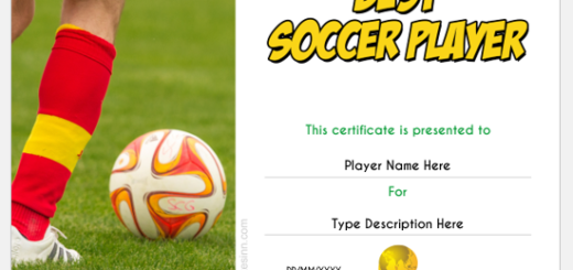Best Soccer Player Certificate