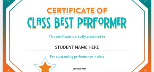 Class Best Performer Certificate