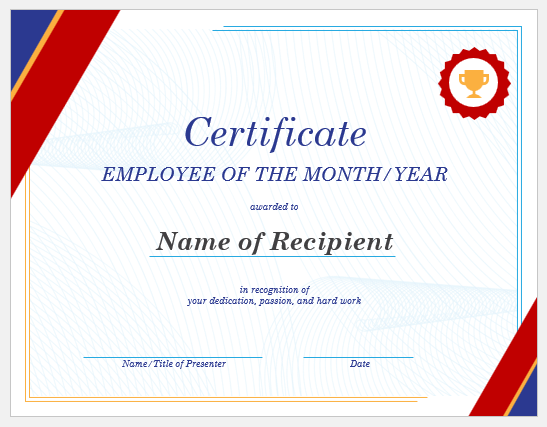 It is a graphic of Employee of the Month Printable Certificate for restaurant employee