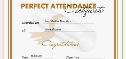 Excellent attendance certificate template