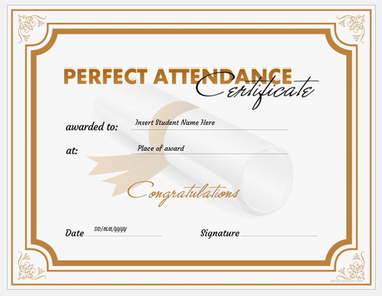 Excellent Attendance Certificates For Students Professional Certificate Templates