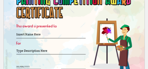 Painting Competition Award Certificate
