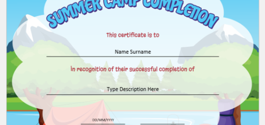 Summer Camp Completion Certificate