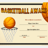 Basketball Award Certificate