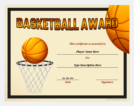 basketball award certificate templates for word