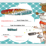 Cooking Competition Award Certificate