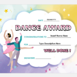 Best Dance Award Certificate