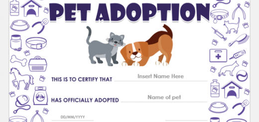 Pet Adoption Certificate Template