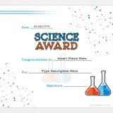 Science Award Certificate Template