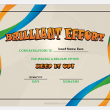 Brilliant Effort Certificate Template