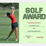 Golf award certificate