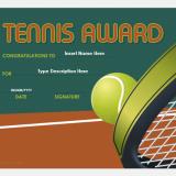 Tennis award certificate