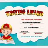 Writing award certificate template