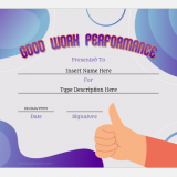 Good work performance certificate