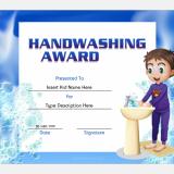 Handwashing Award Certificate Template