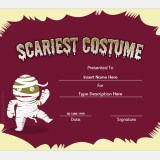 Best scariest costume certificate