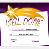 Well done certificate template