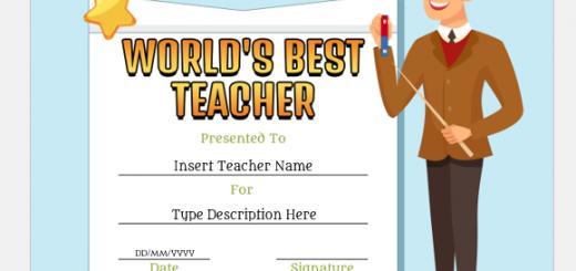 World's best teacher certificate