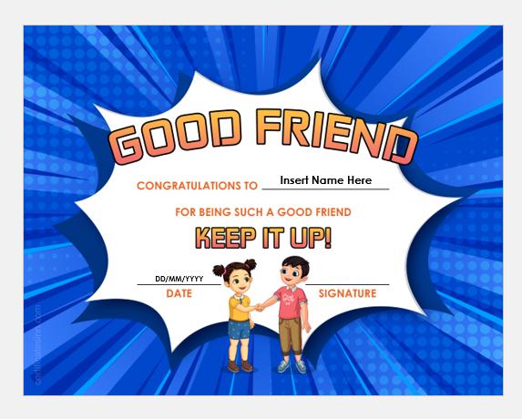 Good Friend Certificate Template
