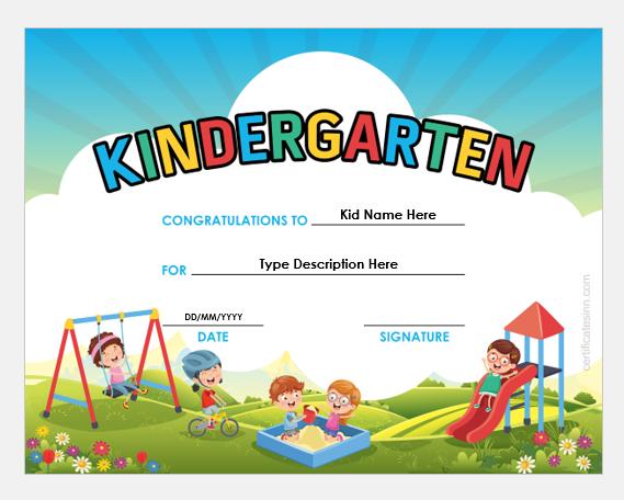Kindergarten certificate template